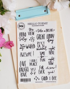Hello Today - transparent stickers