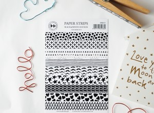 Paper strips- Black&white -  sticker set