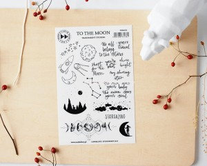 To the moon- transparent stickers (english)