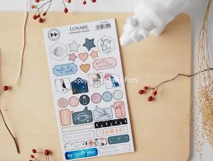 Lunare - chipboard stickers set