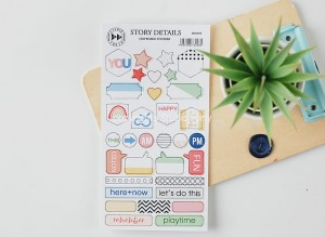 Story Details - chipboard stickers set