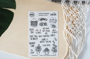 Cozy home - transparent stickers (english)