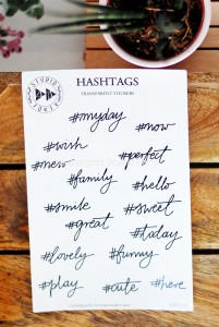 Hashtags- transparent stickers